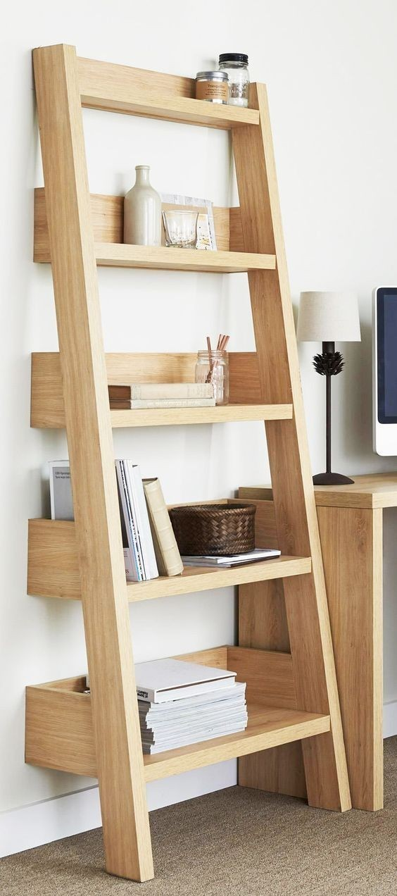 oak leaning shelf